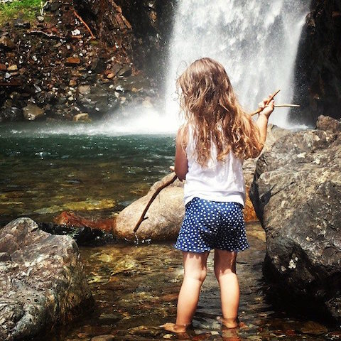 waterfall hike and girl